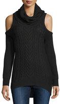Haute Hippie Cold-Shoulder Turtleneck Pullover Sweater, Black