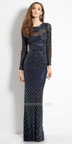 Camille La Vie Long Sleeve Beaded Evening Dress