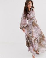Asos Design DESIGN long split sleeve maxi dress with open back in placed floral print