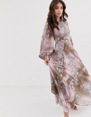 Asos Design DESIGN long split sleeve maxi dress with open back in placed floral print-Multi