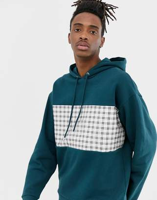 Asos Design DESIGN oversized hoodie with check panel in green