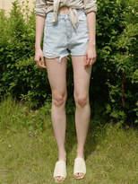 Monts397 High Waist Edge-Washing Shorts (Blue)