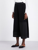 Loewe Contrast-stitch wide cropped high-rise crepe culottes