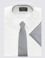 Limited Edition Pure Silk Checked Tie & Pocket Square Set