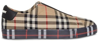 Burberry Contrast Check and Leather Slip-on Sneakers