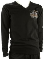 Ed Hardy Men's Long Sleeve V-Neck Sweater Tiger Rhinestone