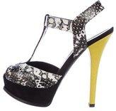 Fendi Snakeskin T-Strap Sandals