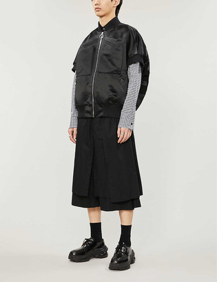 Nicomede Sleeveless relaxed-fit satin bomber jacket