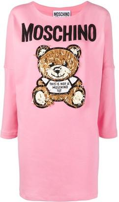 Moschino Embellished Bear-Motif Sweater Dress