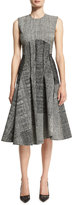 Jason Wu Sleeveless Menswear-Collage Dress, Black/Chalk