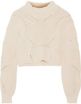 Isabel Marant Gane Cropped Pointelle-trimmed Cotton And Wool-blend Sweater - Ecru