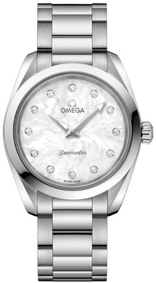 Omega Stainless Steel Aqua Terra Diamond Watch 28mm