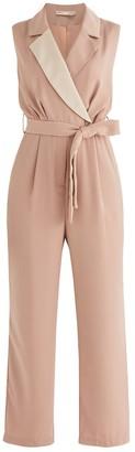 Paisie Olympus Tuxedo Jumpsuit In Light Rose & Beige