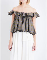 Tome Tiered ruffled off-the-shoulder cotton-poplin top