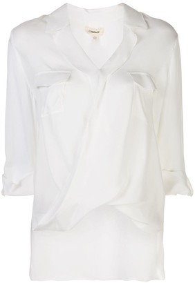 L'Agence V-neck draped front blouse