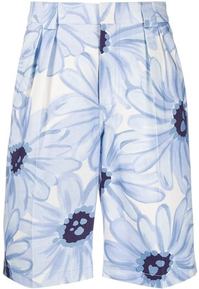 Jacquemus Floral Print Pleated Shorts