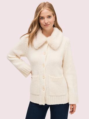 Kate Spade Faux Fur Collar Cardigan