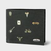 Paul Smith Men's Black Leather 'Cufflink Charm' Print Billfold Wallet