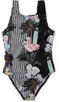 Molo Nika Printed One-Piece Swimsuit, Black, Size 2T-16