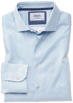 Charles Tyrwhitt Slim Fit Semi-Spread Collar Business Casual Diamond Print White and Blue Egyptian Cotton Dress Shirt Single Cuff Size 18/37