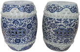 One Kings Lane Vintage Chinese Pierced Porcelain Stools - Set of 2 - Chic Transitions - blue/white