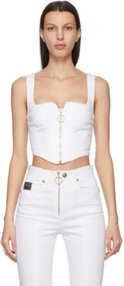 Versace Jeans Couture White Denim Corset Tank Top