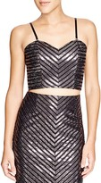 MinkPink Metallic Stripe Crop Top