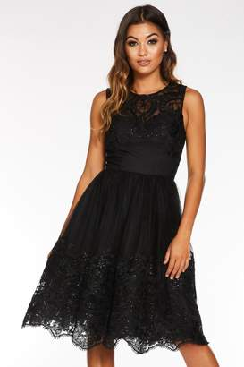 Quiz Black Sequin Embroidered Sweetheart Midi Dress