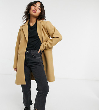 Vila Petite tailored pea coat in brown