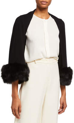 Belle Fare Cashmere Blend Shrug w/ Oversized Fox Fur Cuffs