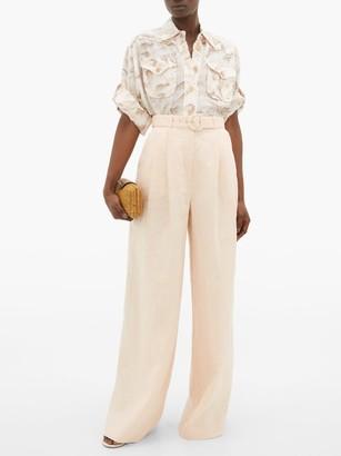 Zimmermann High-rise Linen Wide-leg Trousers - Womens - Light Pink