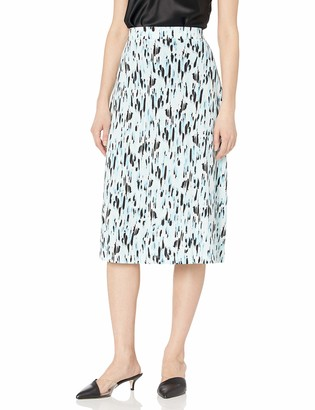 Kasper Women's Plus Size Raindrops Printed ITY Skirt