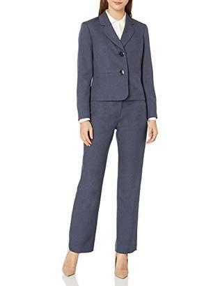 Le Suit Women's Petite 2 Button Notch Collar Twill Melange Pant Suit
