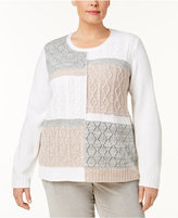 Alfred Dunner Plus Size Eskimo Kiss Collection Patchwork Sweater