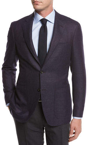 Canali Melange Wool Sport Coat, Navy/Berry
