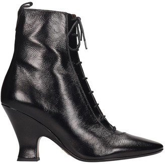 Marc Jacobs The Victorian High Heels Ankle Boots In Black Leather