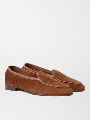 George Cleverley Hampton Leather-Trimmed Suede Loafers - Men - Brown