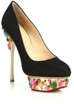 Charlotte Olympia Dolly On-The-Rocks Silk Platform Pumps