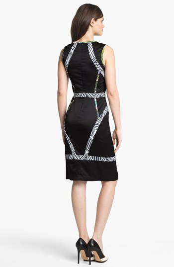 Nicole Miller Multi Trim Silk Sheath Dress