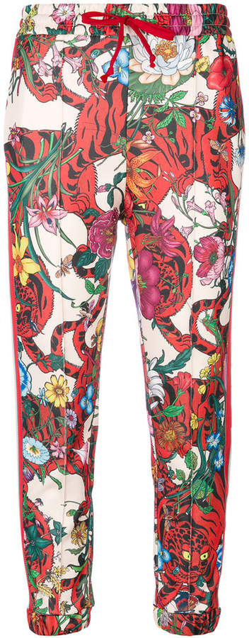 Gucci Floral track pants with stripe detailing