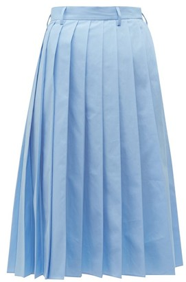 Prada Knife Pleated Cotton Poplin Midi Skirt - Womens - Blue