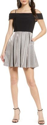 Morgan & Co. Shimmer Pleat Cold Shoulder Party Dress