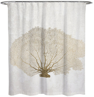 """Oliver Gal Gold Coral Fan"""" Shower Curtain, 71""""x74"""""""