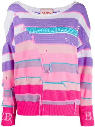 Iceberg Striped Distressed-Effect Jumper