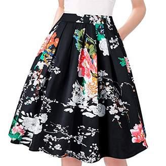 Taydey Women Flare Midi Skirt Vintage Style A Line Size XL