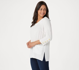 Linea by Louis Dell'Olio Pebble Crepe V-Neck Top with Studs