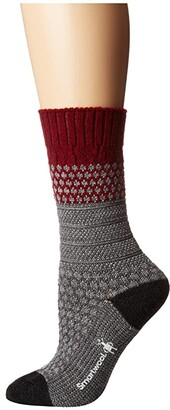 Smartwool Popcorn Cable (Tibetan Red Heather) Women's Crew Cut Socks Shoes