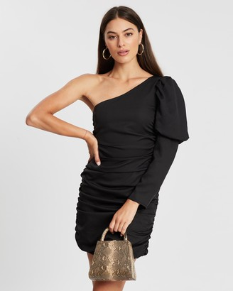 Missguided Puff One Sleeve Ruched Mini Dress