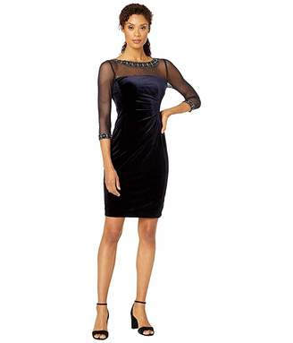 Tahari ASL Stretch Velvet Cocktail Dress with Illusion Mesh and Beaded Sleeves and Neckline
