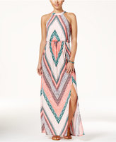 Trixxi Juniors' Printed Side-Slit Maxi Dress